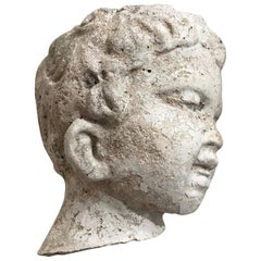 Vintage Garden Statue Fragment of Boy in Cast Stone, France, circa 1990