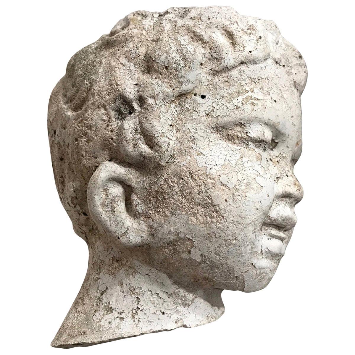 Vintage Garden Statue Fragment of Boy in Cast Stone, France, circa 1990