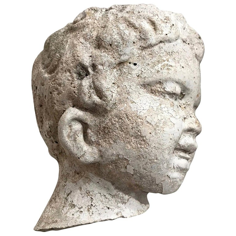 Vintage Garden Statue Fragment of Boy in Cast Stone, France, circa 1990 For Sale