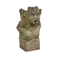 Vintage Gargoyle, English, Reconstituted Stone, Outdoor Ornament, Water Feature
