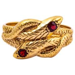 Vintage Garnet and 9 Carat Gold Serpent Ring
