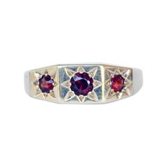 Vintage Garnet and 9 Carat Gold Three-Stone Ring