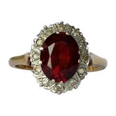 Vintage Garnet and Diamond 18 Carat Gold Cluster Ring
