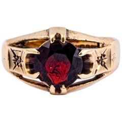 Vintage Garnet and Diamond 9 Carat Gold Signet Ring