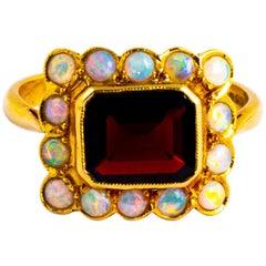Vintage Garnet and Opal 18 Carat Gold Cluster Panel Ring