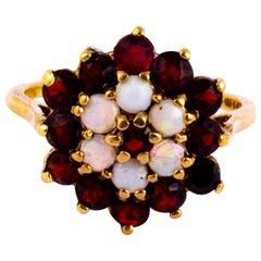 Vintage Garnet and Opal 9 Carat Gold Cluster Panel Ring