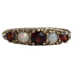 Vintage Garnet and Opal 9 Carat Gold Five-Stone Ring