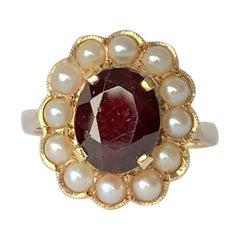 Vintage Garnet and Pearl 9 Carat Gold Cluster Ring