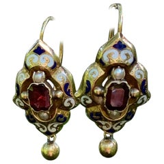 Vintage Garnet and Pearl Enamel Gold Drop Earrings