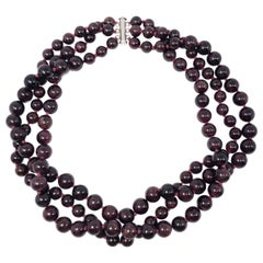 Vintage Garnet Bead Multi Strand Necklace, Sterling Silver Clasp, 20th Century
