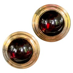 Vintage Garnet Cabochon 14 Karat Yellow Gold Pierced Earrings with Omega Back