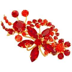 Vintage Garnet & Carnelian Austrian Crystal Floral Brooch, 1960s