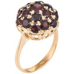 Vintage Garnet Dome Ring 18 Karat Yellow Gold Orb Stacking Estate Fine Jewelry