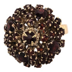 Vintage Garnet Yellow Gold Dome Cluster Ring