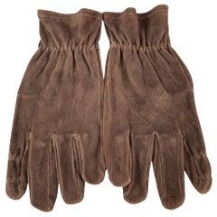 Vintage GATES Size M Dark Brown Deer Skin Suede Gloves