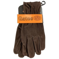 Vintage GATES Size S Dark Brown Deer Skin Suede Gloves