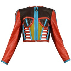 Vintage Gaultier Iconic Red & Blue Corset Leather Jacket 1991