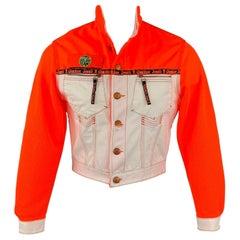 Vintage GAULTIER JEANS Size M Orange & White Mixed Fabrics Cropped Jacket