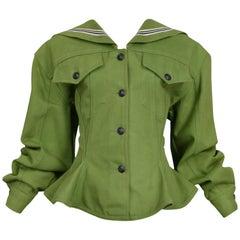 Vintage Gaultier Olive Green Sailor Corset Jacket
