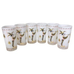 Vintage Gay Fad Cocktail Glasses, Jester with Trumpet & Bells on White Ground