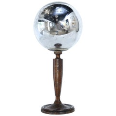 Vintage Gazing Ball on Wood Stand