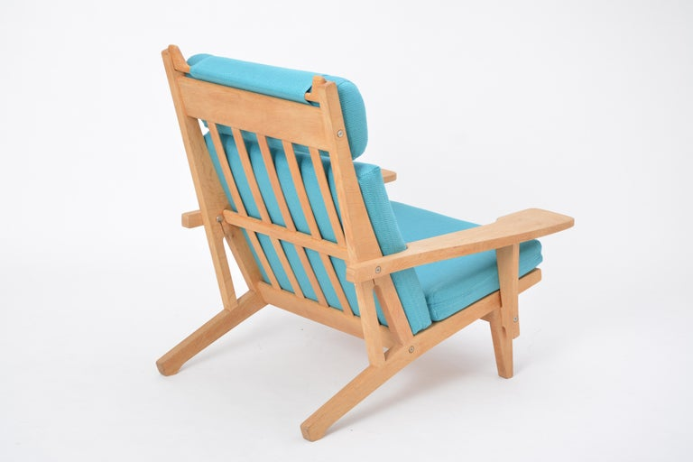 Danish Turquoise Mid-Century Modern GE 375 Easy Chair by Hans J. Wegner for GETAMA  For Sale