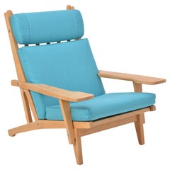 Turquoise Mid-Century Modern GE 375 Easy Chair by Hans J. Wegner for GETAMA