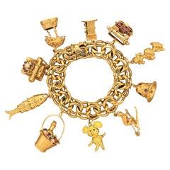 Vintage Gemstone Gold Charm Bracelet
