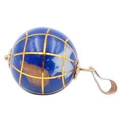 Vintage Gemstones Globe Pendant Charm 18k Gold