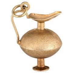 Vintage Genie in a Bottle Charm 14 Karat Gold Estate Fine Jewelry Pendant Vase