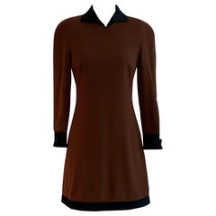 Vintage Genny Brown Wool Long Sleeve Mini Dress with Black Silk Quilted Trim