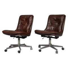 """Vin̈tage """"Gentilina"""" Swivel Desk Chairs by Strassle of Switzerland, 1960s"""