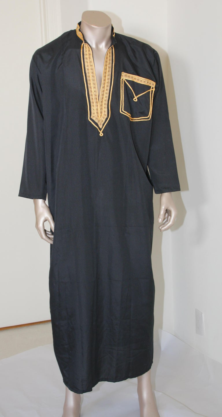 Vintage Middle Eastern gentleman black caftan with yellow gold trim,