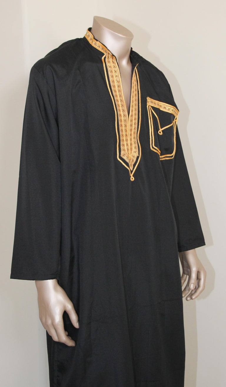 Hand-Crafted Vintage Gentleman Black Kaftan with Yellow Gold Trim, circa 1970