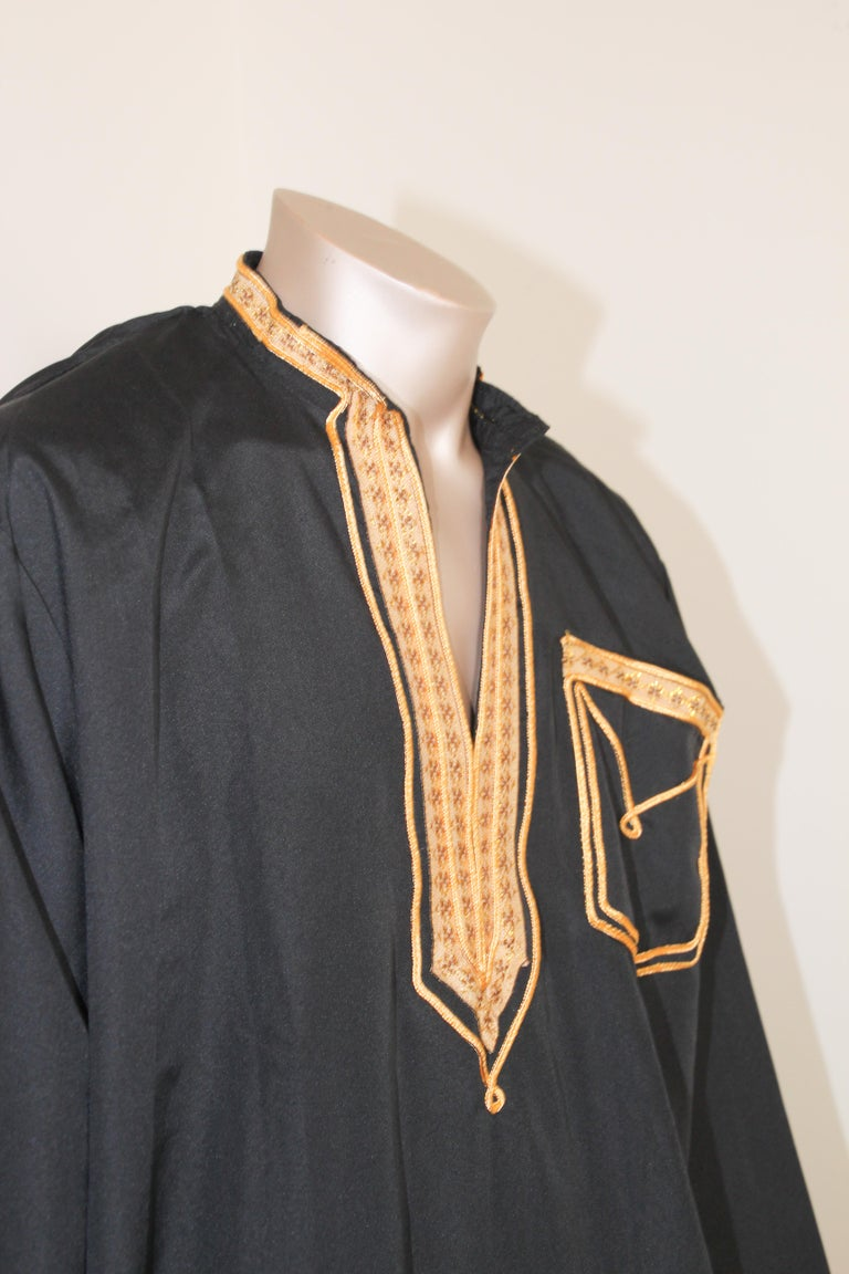 Vintage Gentleman Black Kaftan with Yellow Gold Trim, circa 1970 In Good Condition In North Hollywood, CA