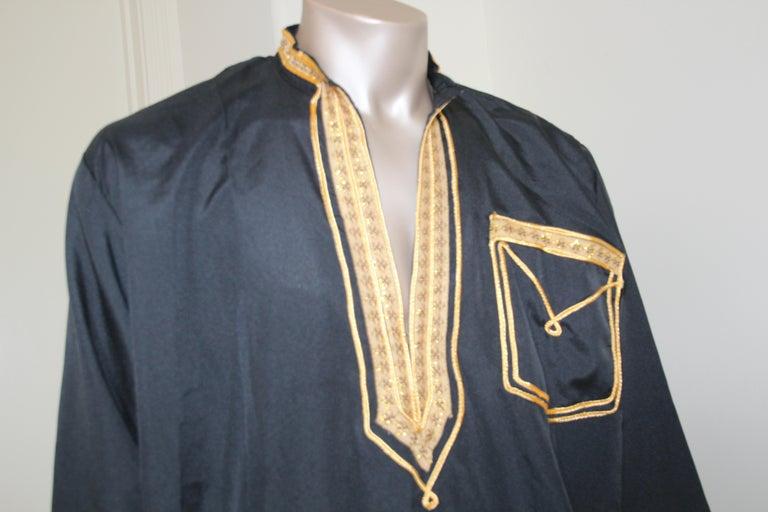 Fabric Vintage Gentleman Black Kaftan with Yellow Gold Trim, circa 1970