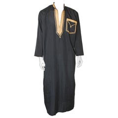 Vintage Gentleman Black Kaftan with Yellow Gold Trim, circa 1970