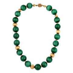 Vintage Genuine Malachite Single Strand Necklace + 14 Karat Yellow Gold Bead