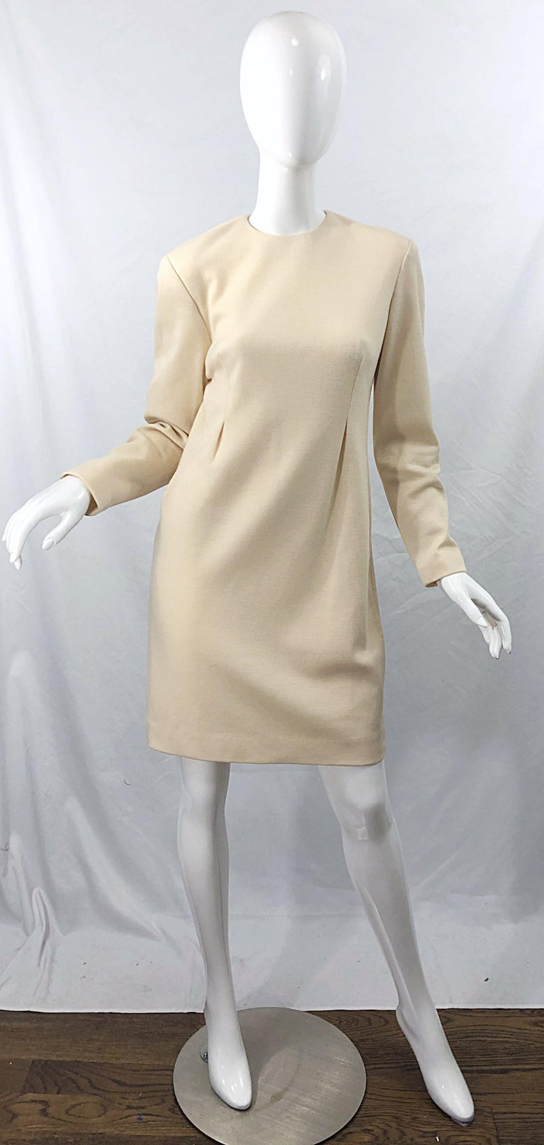 Vintage Geoffrey Beene for Bergdorf Goodman Size 10 Ivory Off White Wool Dress For Sale 9