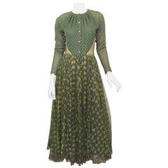 Vintage Geoffrey Beene Green, Gold Gown