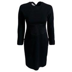 Vintage Geoffrey Beene Little Black Dress Wool & Silk Satin Size 6