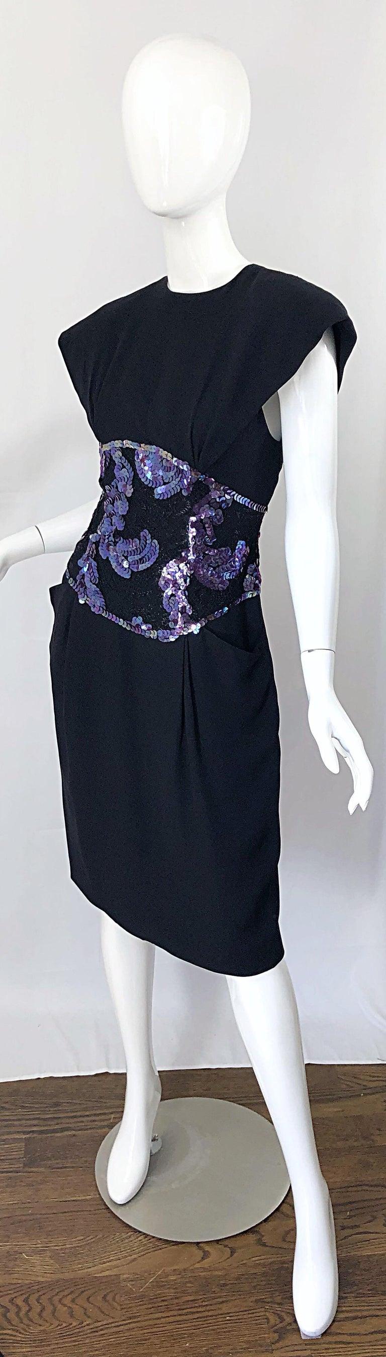 Vintage Geoffrey Beene Size 10 Avant Garde Black Purple Sequin Lace Silk Dress For Sale 6