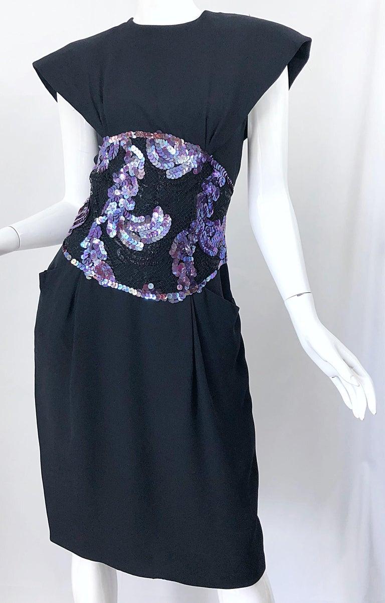 Vintage Geoffrey Beene Size 10 Avant Garde Black Purple Sequin Lace Silk Dress For Sale 7