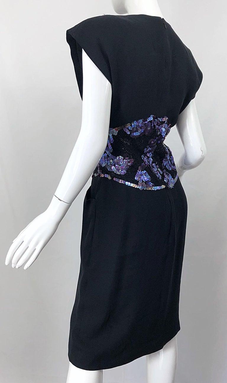 Vintage Geoffrey Beene Size 10 Avant Garde Black Purple Sequin Lace Silk Dress For Sale 8