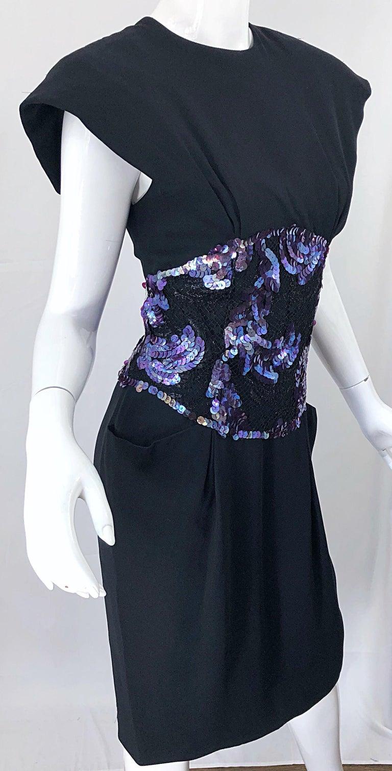 Vintage Geoffrey Beene Size 10 Avant Garde Black Purple Sequin Lace Silk Dress For Sale 9