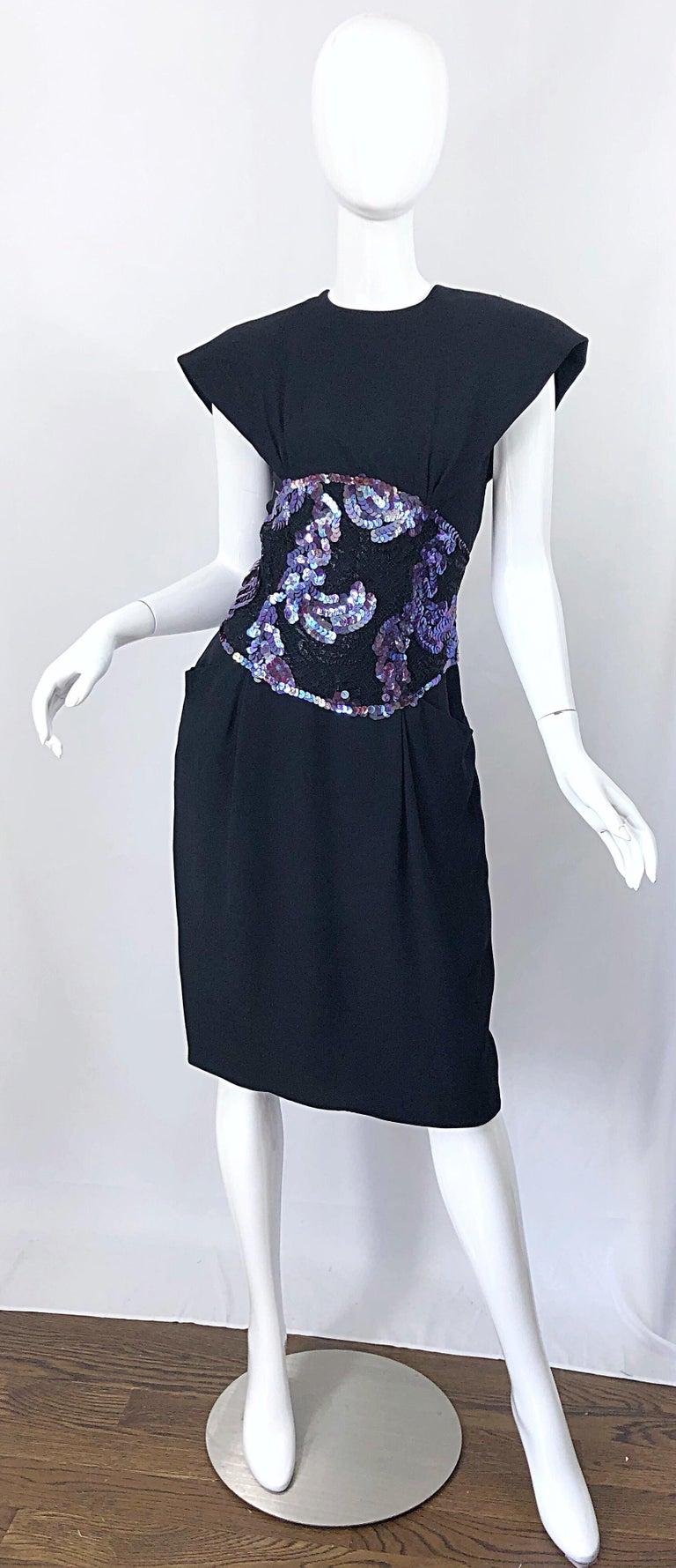 Vintage Geoffrey Beene Size 10 Avant Garde Black Purple Sequin Lace Silk Dress For Sale 10