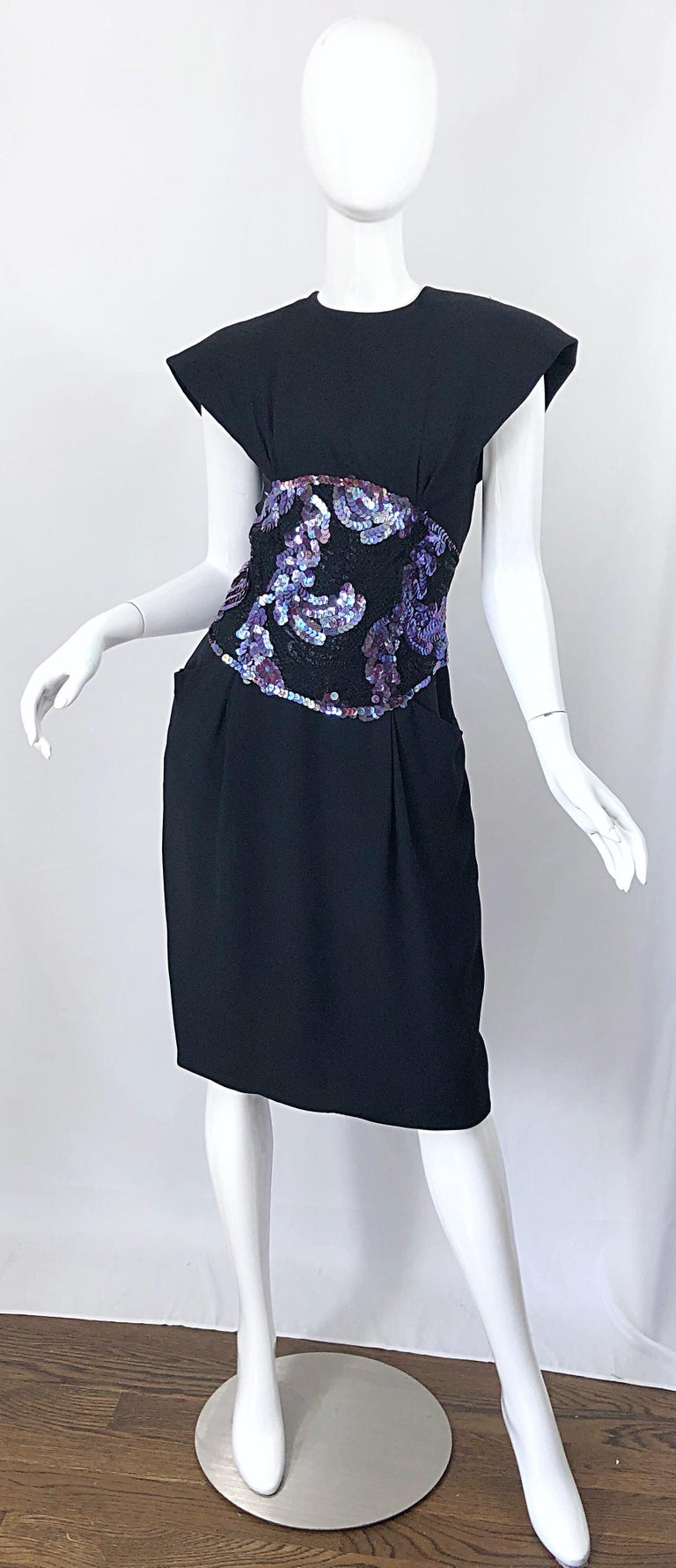 Avant Garde vintage GEOFFREY BEENE black silk, lace and purple sequin cocktail dress! Features statement worthy strong shoulder with shoulder pads that could easily be removed, if desired. Super flattering and forgiving fit that looks great on many