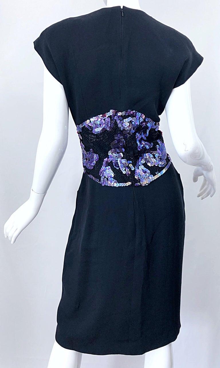 Women's Vintage Geoffrey Beene Size 10 Avant Garde Black Purple Sequin Lace Silk Dress For Sale