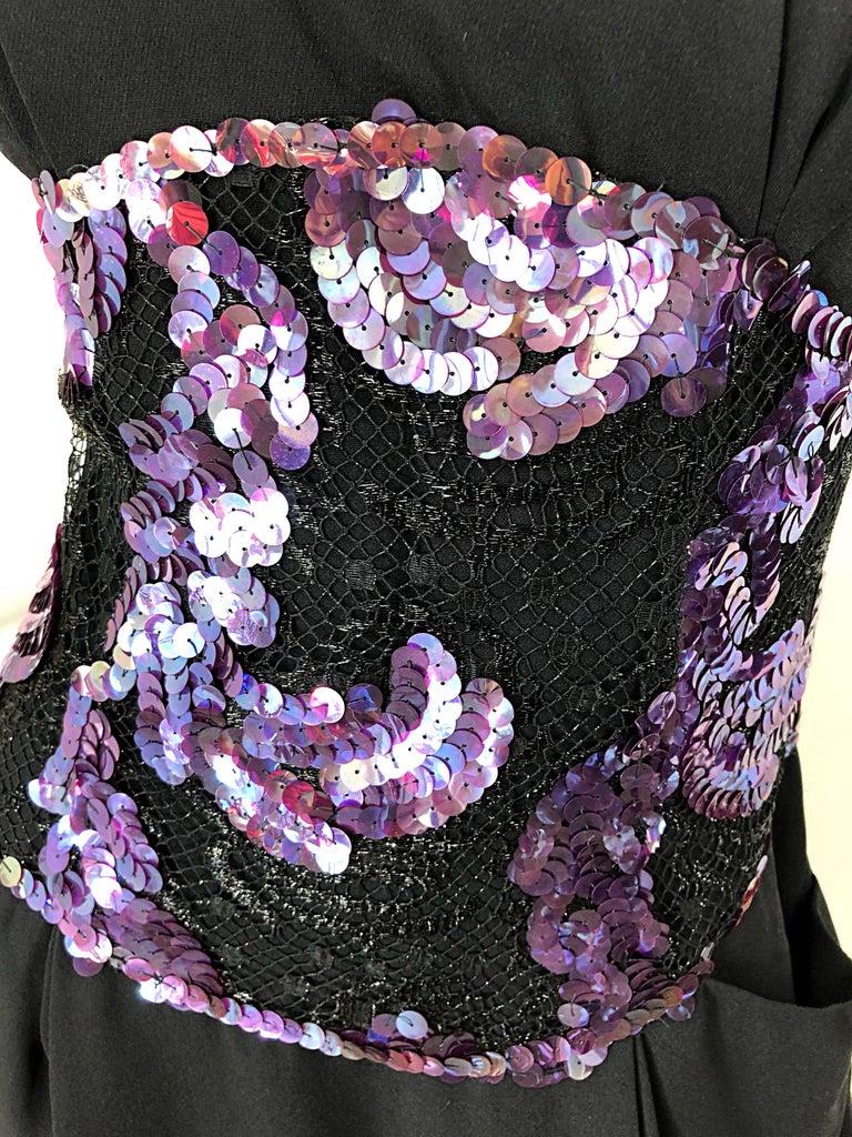 Vintage Geoffrey Beene Size 10 Avant Garde Black Purple Sequin Lace Silk Dress For Sale 1