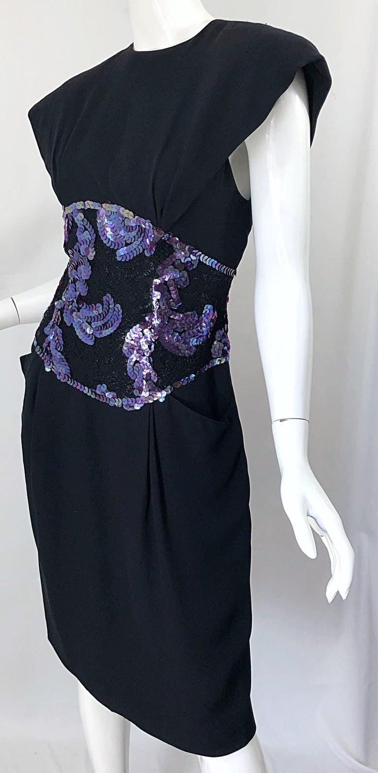 Vintage Geoffrey Beene Size 10 Avant Garde Black Purple Sequin Lace Silk Dress For Sale 2